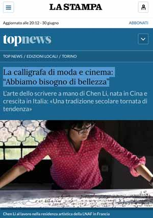 "article from National press ""La Stampa "" about Chen Li"
