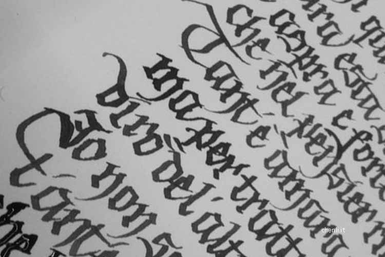 historical calligraphy mood: black letters