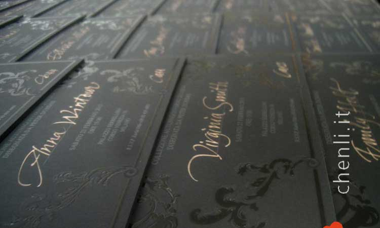 calligraphic gold handwriting for fashion black invitations