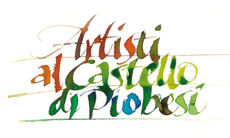 calligraphic multi coloured logo